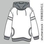 hoodie flat sketch for kids.... | Shutterstock .eps vector #1980833411