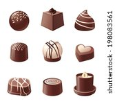 9 chocolate candy icons over... | Shutterstock .eps vector #198083561