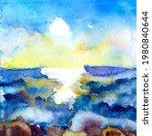 Hand Drawn Seascape Watercolor...