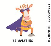 cute funny cow superhero in...   Shutterstock .eps vector #1980899111