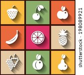 set of 9 flat icons with fruits.... | Shutterstock .eps vector #198089921
