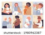 kids love and hug pets vector...   Shutterstock .eps vector #1980962387