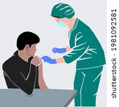 doctor with syringe injecting...   Shutterstock .eps vector #1981092581