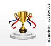 realistic gold trophy on podium ... | Shutterstock .eps vector #1981096001