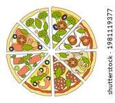 mix pizza slices   cut assorted ... | Shutterstock .eps vector #1981119377