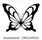 butterfly silhouette. hand... | Shutterstock .eps vector #1981149524