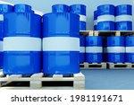 Blue Metal Barrels. Oil...