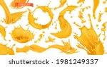 orange paint splash. fruit... | Shutterstock .eps vector #1981249337