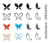 Stock vector vector group of butterfly on white background 198126401
