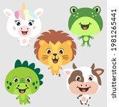 unicorn  cow  dino  lion  frog. ...   Shutterstock .eps vector #1981265441