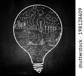 conceptual image of light bulb... | Shutterstock . vector #198128609