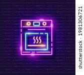 oven neon sign. vector...   Shutterstock .eps vector #1981306721