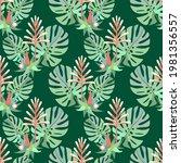 vector   tropic plants seamless ... | Shutterstock .eps vector #1981356557