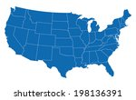 usa map in blue w  states | Shutterstock .eps vector #198136391