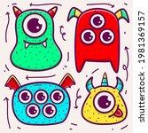 cute monster cartoon doodle... | Shutterstock .eps vector #1981369157