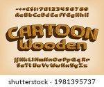 cartoon wood alphabet font.... | Shutterstock .eps vector #1981395737