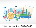 target and cityscape background ... | Shutterstock .eps vector #198145649