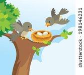 bird family love | Shutterstock .eps vector #198146231