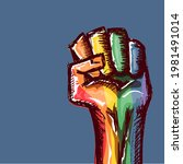 rised lgbt fist colored in lgbt ...   Shutterstock .eps vector #1981491014