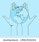female hands hold the globe.... | Shutterstock .eps vector #1981524224