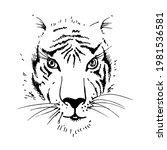 tiger face. predator. wildcat.... | Shutterstock .eps vector #1981536581