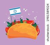 falafel cartoon with israeli...   Shutterstock .eps vector #1981589024