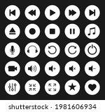 audio and video icon symbol set....