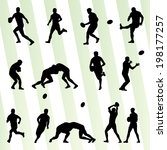 rugby player man silhouette... | Shutterstock .eps vector #198177257