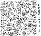 computers games   doodles set  | Shutterstock .eps vector #198186875