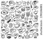 coffee cups   doodles set   Shutterstock .eps vector #198186881