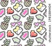 Cartoon Doodle Style Pineapple  ...