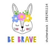 cute  rabbit with floral wreath ... | Shutterstock .eps vector #1981901114