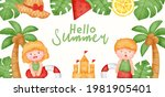 tropical summer banner with... | Shutterstock .eps vector #1981905401