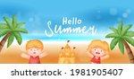 summer sale banner with summer... | Shutterstock .eps vector #1981905407