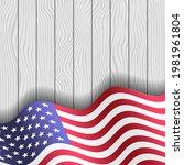 us flag on white wood texture... | Shutterstock .eps vector #1981961804