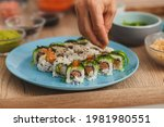 close up sushi chef spreading...   Shutterstock . vector #1981980551