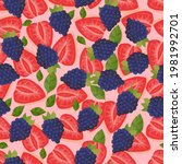 pattern of ripe strawberries...   Shutterstock .eps vector #1981992701