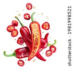 Fresh Red Chilli Peppers And...