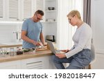 senior man cooking breakfast...   Shutterstock . vector #1982018447