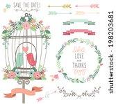 retro love birdcage and wedding ... | Shutterstock .eps vector #198203681