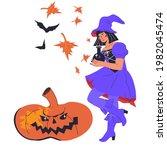 halloween pumpkin lantern... | Shutterstock .eps vector #1982045474