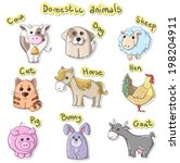 set of cartoon domestic animals | Shutterstock . vector #198204911
