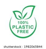 plastic free 100 percent logo.... | Shutterstock .eps vector #1982065844