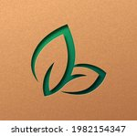 bio leaf sign isolated papercut ... | Shutterstock .eps vector #1982154347