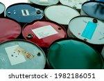 Old Chemical Barrels. Blue ...