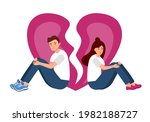 sad loving couple sitting and... | Shutterstock .eps vector #1982188727