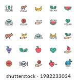vegan color filled outline icon ...