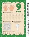 worksheets for learning numbers.... | Shutterstock .eps vector #1982335274