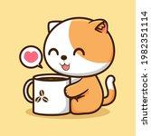 Cute Kitten With Coffee Mug