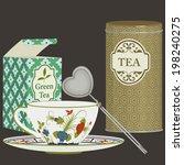 tea cup with saucer  infuser... | Shutterstock .eps vector #198240275